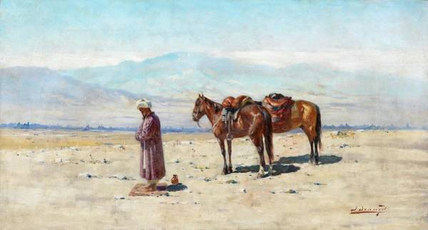 Wall Art - Painting - Stopping For Prayer Richard Karlovich Zommer 1866-1939 Germany, Russia by Celestial Images