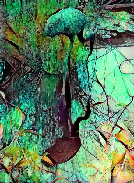 Wall Art - Mixed Media - Stork Reflections by Trudee Hunter