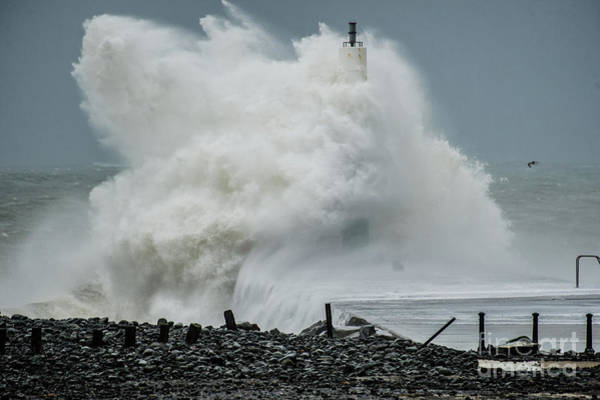Photograph - Storm Brian Hitting Aberystwyth Lighthouse by Keith Morris