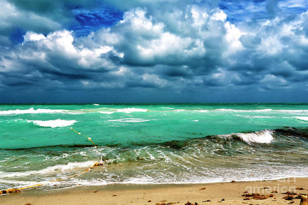 Whitecaps Photograph - Storm Clouds At South Beach by John Rizzuto