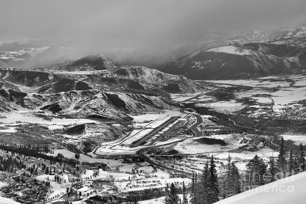 Photograph - Storm Clouds Over Aspen Airport Black And White by Adam Jewell