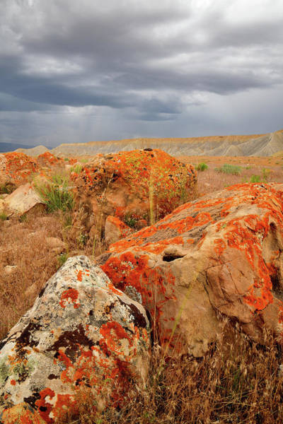 Photograph - Storm Clouds Over Colorful Boulders by Ray Mathis