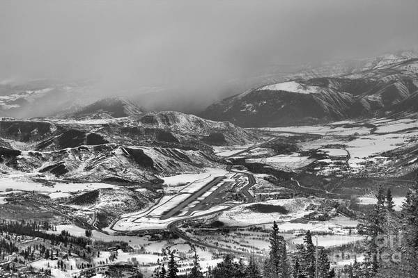Photograph - Storm Clouds Over The Aspen Airport Black And White by Adam Jewell