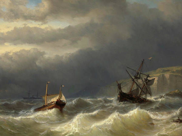 Meijer Painting - Storm In The Strait Of Dover by Louis Meijer