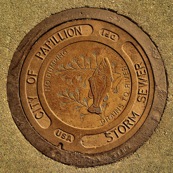 Storm Drain Photograph - Storm Sewer Cover - Papillion - Nebraska by Nikolyn McDonald