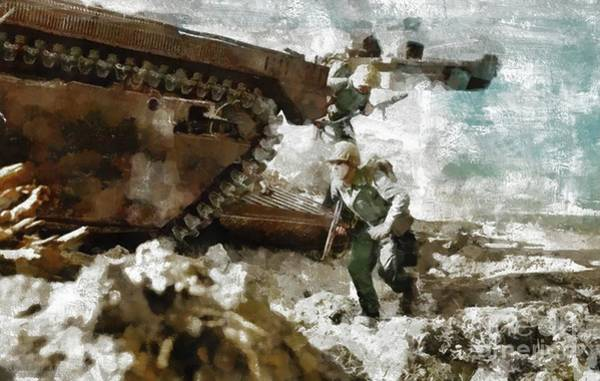 Dday Wall Art - Painting - Storming Okinawa, Wwii by Mary Bassett