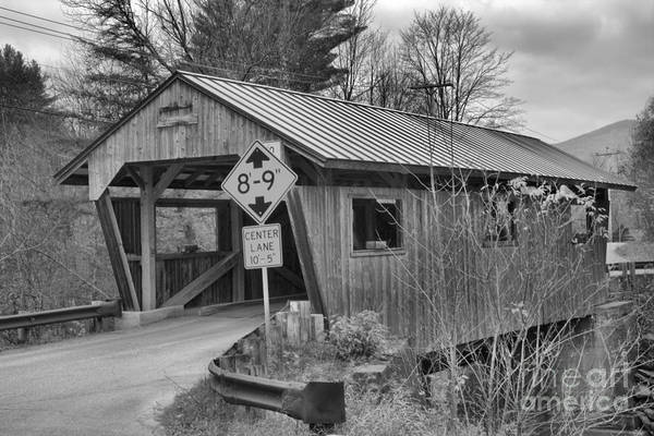 Photograph - Storms Over The School Street Covered Bridge Black And White by Adam Jewell