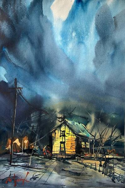 Wall Art - Painting - Stormy Night by Ugljesa Janjic
