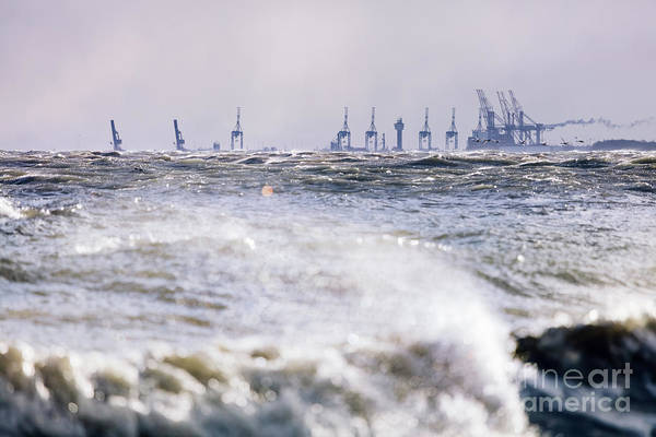 Wall Art - Photograph - Stormy Sea And Industrial Landscape by Michal Bednarek