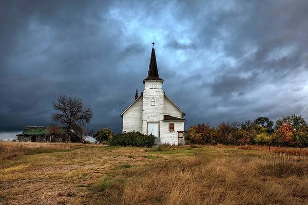 Photograph - Stormy Skies Over Abandoned Church by Harriet Feagin