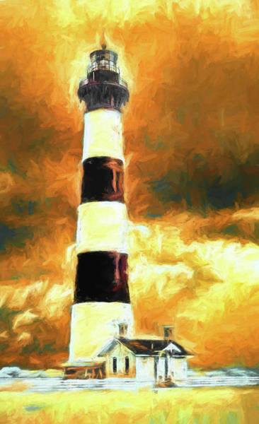 Bodie Painting - Stormy Skies Over Bodie Lighthouse Fx by Dan Carmichael