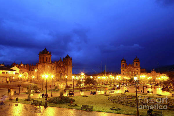 Photograph - Stormy Twilight Over The Plaza De Armas Cusco Peru by James Brunker