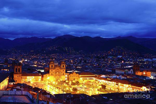Photograph - Stormy Twilight View Over Cusco Peru by James Brunker