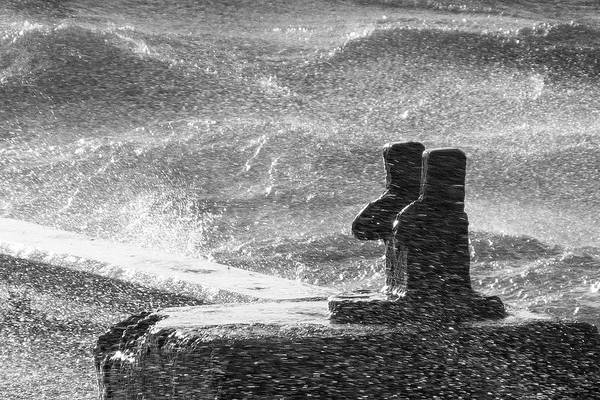Photograph - Stormy Waters At The Harbor Bw by Kim Lessel