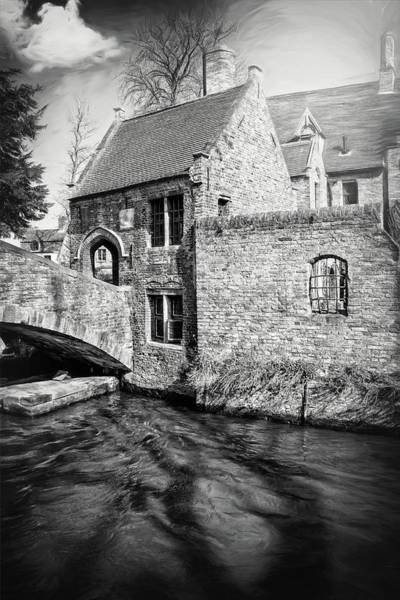 Bruges Photograph - Storybook Bruges Belgium Black And White by Carol Japp