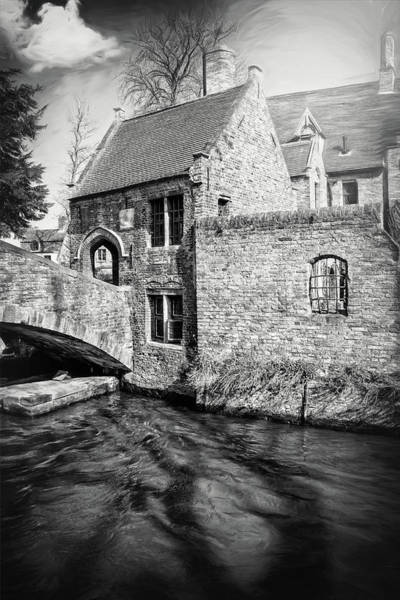 Belgian Photograph - Storybook Bruges Belgium Black And White by Carol Japp