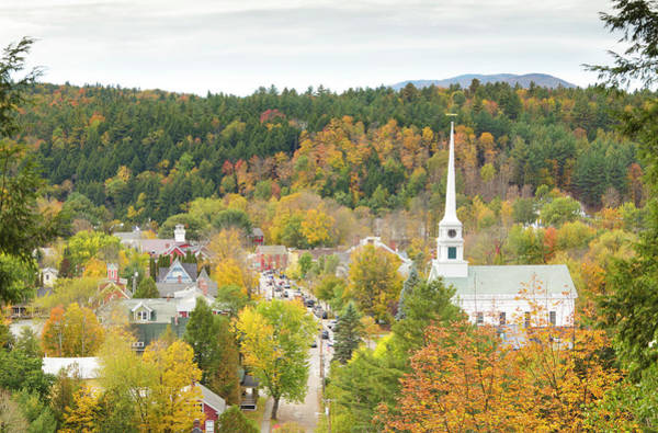 New England Autumn Photograph - Stowe, Vermont Aerial by Picturelake