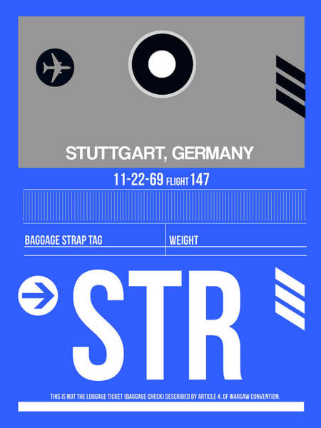 Wall Art - Digital Art - Str Stuttgart Luggage Tag II by Naxart Studio