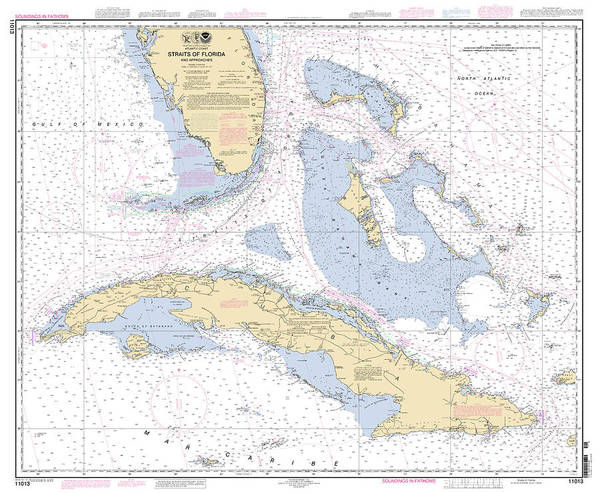 Digital Art - Straits Of Florida Nautical Chart 11013 by Paul and Janice Russell