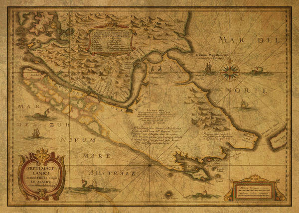 Wall Art - Mixed Media - Straits Of Magellan Vintage Map South America 1635 by Design Turnpike