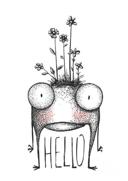 Wall Art - Digital Art - Strange Hand Drawn Monster With Flowers by Popmarleo