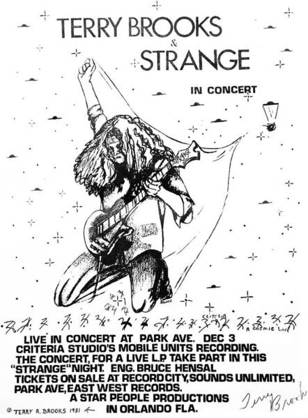 Photograph - Strange Poster 1981 In B/w By Terry R. Brooks by Ben Upham