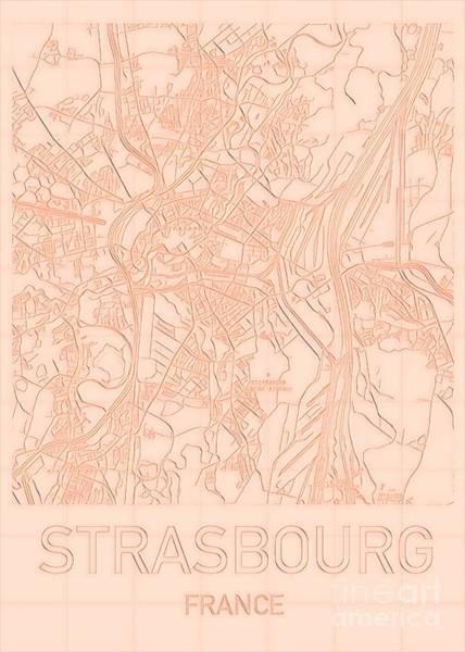 Digital Art - Strasbourg Blueprint City Map by Helge