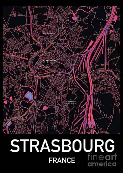 Digital Art - Strasbourg City Map by Helge