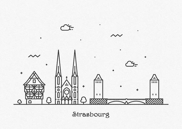 Drawing - Strasbourg Cityscape Travel Poster by Inspirowl Design
