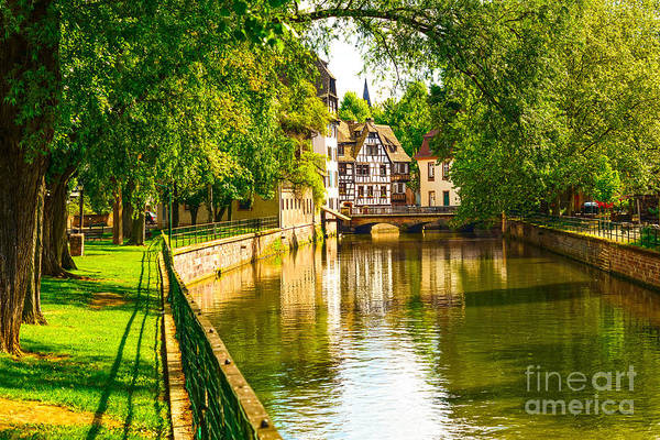 Landmark Building Photograph - Strasbourg, Water Canal In Petite by Stevanzz