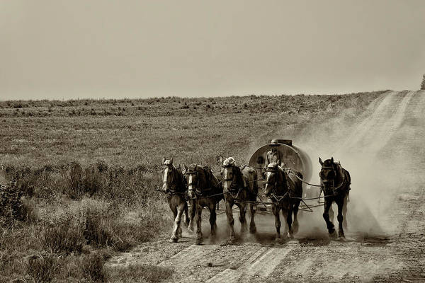 Wall Art - Photograph - Strasburg Lancaster County - Horse Team In Sepia by Bill Cannon