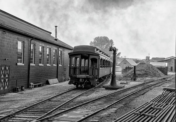 Wall Art - Photograph - Strasburg Train Yard - Lancaster County In Black And White by Bill Cannon
