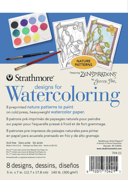 Painting - Strathmore Designs For Watercoloring 140 Lb. Cold Press Pad, Nature, 8 Sheets by STRATHMORE Artist Papers
