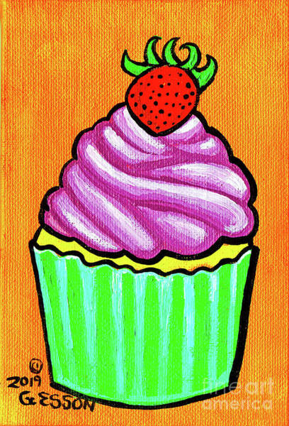 Icing Painting - Strawberry Cupcake With Orange Background by Genevieve Esson