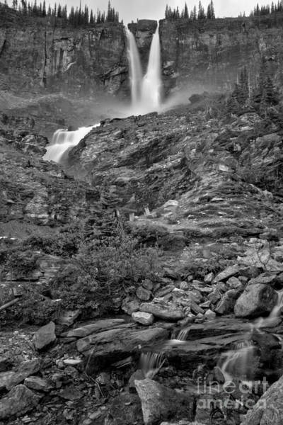 Photograph - Streams Below Ycoho Twin Falls Black And White by Adam Jewell