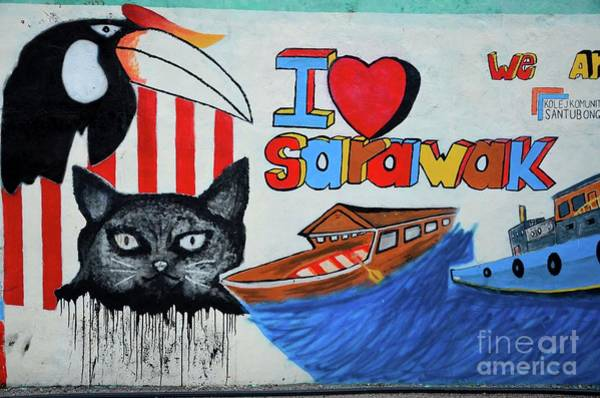 Photograph - Street Art Graffiti With Cat Hornbill Bird Boats I Love Sarawak Kuching Malaysia by Imran Ahmed
