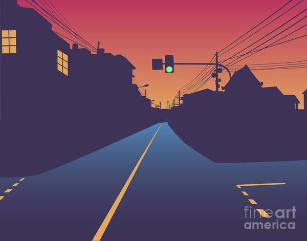 Copy Wall Art - Digital Art - Street At Sunset by Robert Adrian Hillman