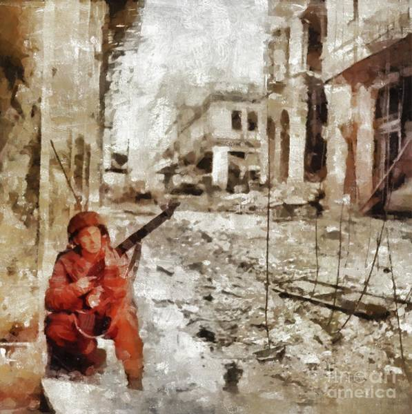 Wall Art - Painting - Street Battle, World War Two by Mary Bassett