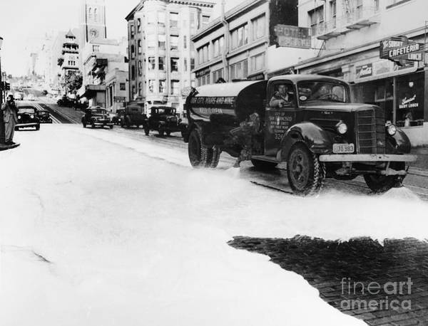 Photograph - Street Cleaning, 1948 by Granger