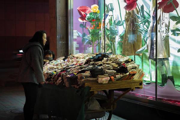 Photograph - Street Clothing Vendor Urumqi Xinjiang China by Adam Rainoff