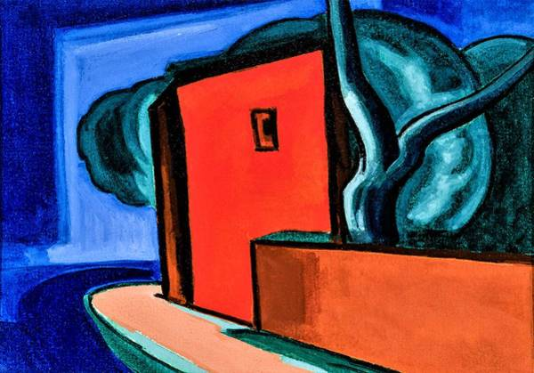 Corner Painting - Street Corner With Red Building - Digital Remastered Edition by Oscar Bluemner