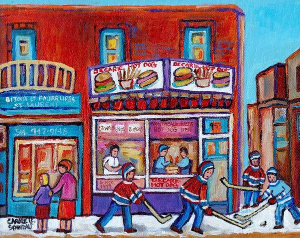 Painting - Street Hockey Game Near Decarie Hot Dog Ville St Laurent Montreal Winter Scene Painting C Spandau by Carole Spandau