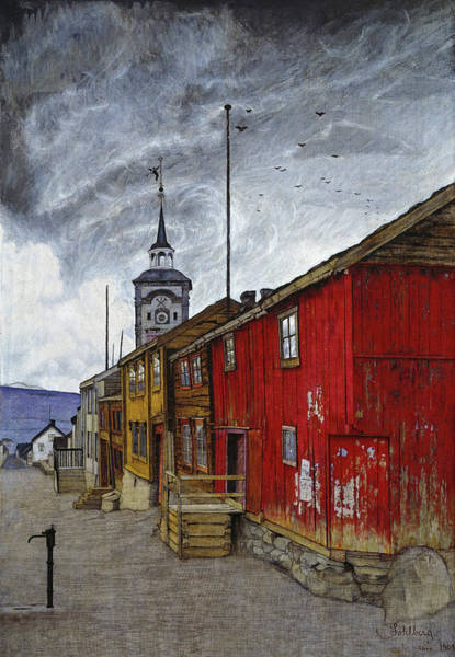 Norway Painting - Street In Roros, 1902 by Harald Sohlberg