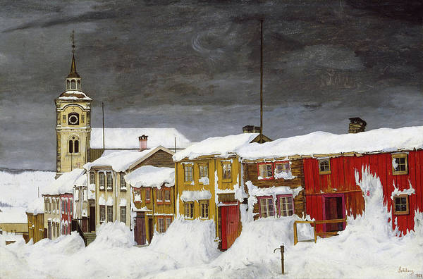 Wall Art - Painting - Street In Roros In Winter, 1903 by Harald Sohlberg