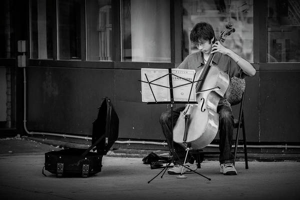 Photograph - Street Muscian Busker With Cello In Black And White by Randall Nyhof