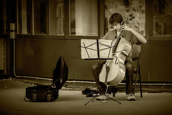 Photograph - Street Muscian Busker With Cello In Sepia Tone by Randall Nyhof
