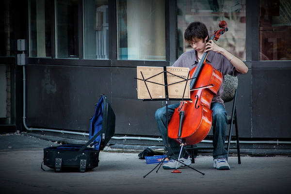 Photograph - Street Muscian Busker With Cello by Randall Nyhof