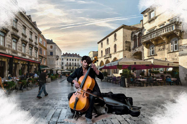 Digital Art - Street Music. Cello. by Alex Mir