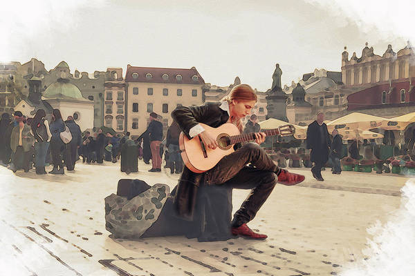 Digital Art - Street Music. Guitar. by Alex Mir