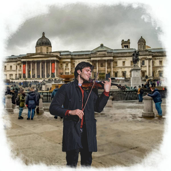 Digital Art - Street Music. Violin. Trafalgar Square. by Alex Mir